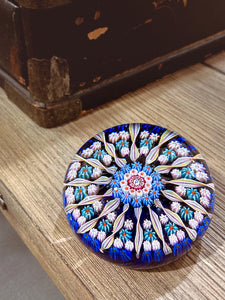 Vintage Blue Millefiori Perthshire Scotland Large Glass Paperweight