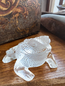 Lalique Clear Frosted Clear Crystal Glass Gregoire Toad Frog Sculpture