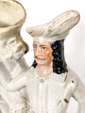 Antique Staffordshire Robin Hood Figural Group Ceramic Vase Sculpture Close Up Head 1