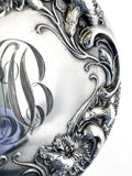 Antique Sterling Silver Floral Repousse Monogram Vanity Hand Mirror Close Up Floral Detail