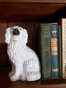 19th Century Staffordshire Seated Leashed White Spaniel Dog Sculpture