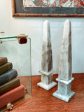 20th Century Pair of Mottled Gray & White Marble Tall Obelisks