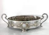 Elegant Vintage Silver Plated Detailed Oval Footed Centerpiece Serving Tray Side 1