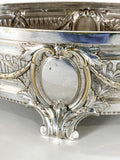 Elegant Vintage Silver Plated Detailed Oval Footed Centerpiece Serving Tray Close Up Details 1