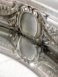 Elegant Vintage Silver Plated Detailed Oval Footed Centerpiece Serving Tray Interior Welding Details 1