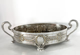 Elegant Vintage Silver Plated Detailed Oval Footed Centerpiece Serving Tray Side 3