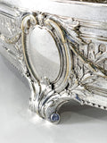 Elegant Vintage Silver Plated Detailed Oval Footed Centerpiece Serving Tray Close Up Details 2