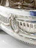 Elegant Vintage Silver Plated Detailed Oval Footed Centerpiece Serving Tray Wreath Close Up