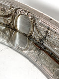 Elegant Vintage Silver Plated Detailed Oval Footed Centerpiece Serving Tray Interior Close Up 2