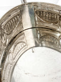 Elegant Vintage Silver Plated Detailed Oval Footed Centerpiece Serving Tray Interior Close Up 3