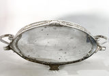Elegant Vintage Silver Plated Detailed Oval Footed Centerpiece Serving Tray Bottom