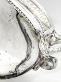 Elegant Vintage Silver Plated Detailed Oval Footed Centerpiece Serving Tray Bottom Foot Close Up