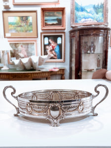 Elegant Vintage Silver Plated Detailed Oval Footed Centerpiece Serving Tray 2