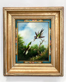 Vintage Hummingbird Wildlife Oil on Canvas Floral Filet Framed Painting Front