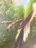 Vintage Hummingbird Wildlife Oil on Canvas Floral Filet Framed Painting Surface Texture Close Up
