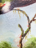 Vintage Hummingbird Wildlife Oil on Canvas Floral Filet Framed Painting Texture Close Up