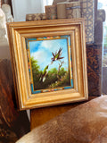Vintage Hummingbird Wildlife Oil on Canvas Floral Filet Framed Painting