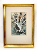 Vintage Abstract Snowy Woodland Rudolph Ohrning Framed Watercolor Painting Full View