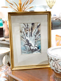 Vintage Abstract Snowy Woodland Rudolph Ohrning Framed Watercolor Painting