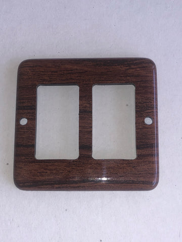 Panel, teak square, for 2 switches