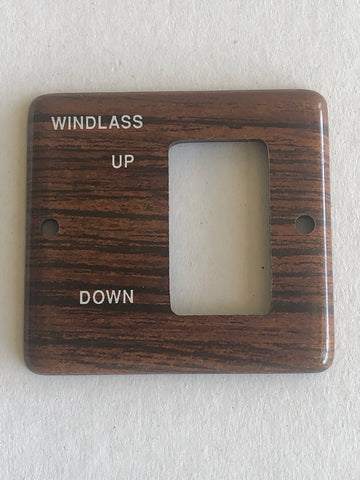 Panel, teak square, for windlass switch