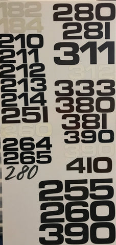 Model Numbers Decals, 3 Digit, Pair