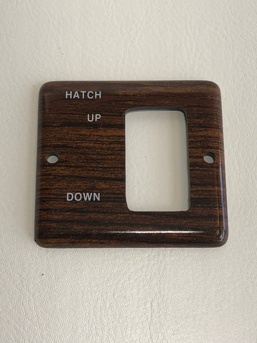 Panel, teak square, for hatch switch