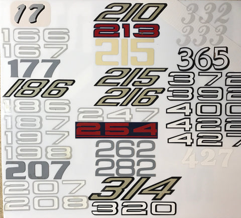 Model Numbers Decals, 3 Digit smalls, Pair
