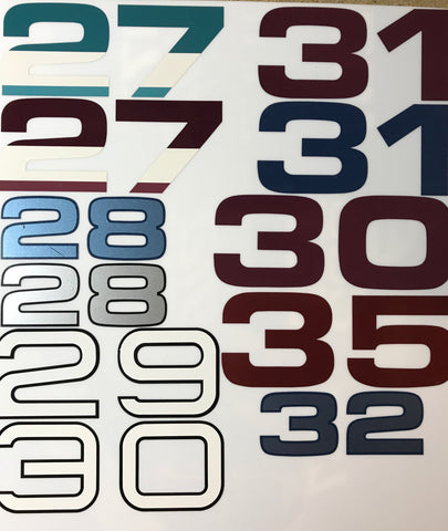 Model Numbers Decals, 2 Digit, Pair