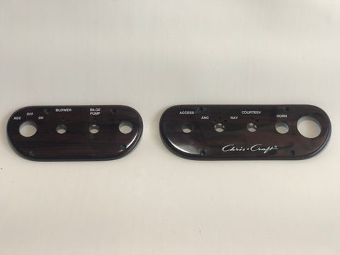 Panels, switch, pair, rosewood, for Concepts