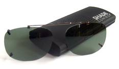 Visionaries rimless clip on sunglasses with spring-bridge