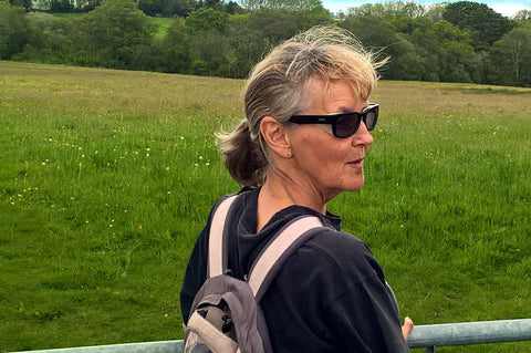 Alison wearing her Kai glasses on a walk in Devon