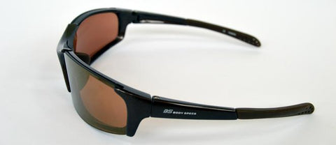 Wraparound sports glasses with interchangeable non polarised lenses