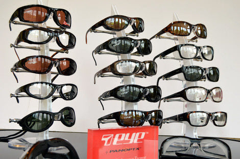 Our range of dry eye and windproof glasses and sunglasses available to try on