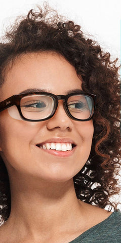 young woman wearing Ziena glasses