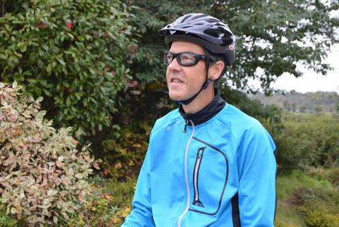John wearing his windproof cycle glasses with clear lenses