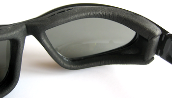 Eye cup on 7eye AirShield sunglasses cushions the frame