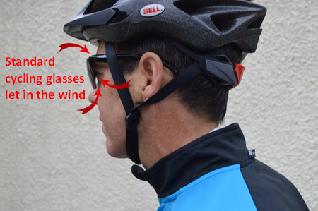 standard cycling glasses let in the wind around the lens edges