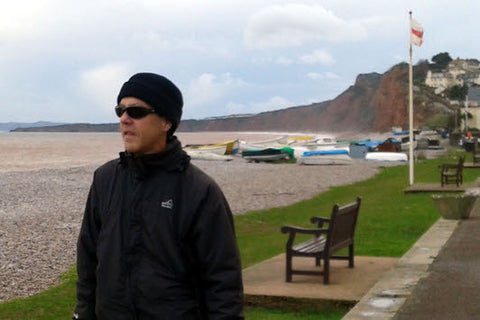 Wearing 7eye AirShield sunglasses on a windy day at Budleigh Salterton