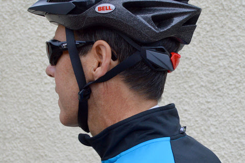 7eye Cape gloss black being worn as cycling glasses