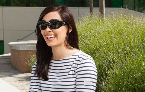 woman wearing 7eye Briza glossy black sunglasses