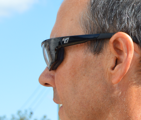 Side view of John wearing 7eye Ventus glasses showing the good seal of the eye cup