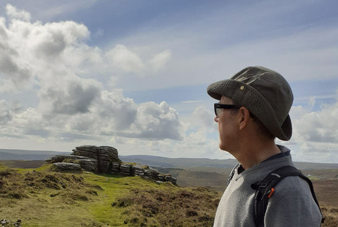 wearing ziena glasses to protect from the wind while walking on Dartmoor