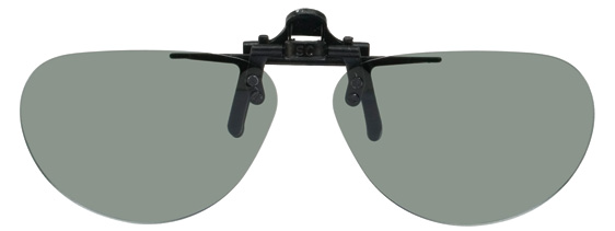 polarised grey flip up sunglasses with Almond-shaped lenses