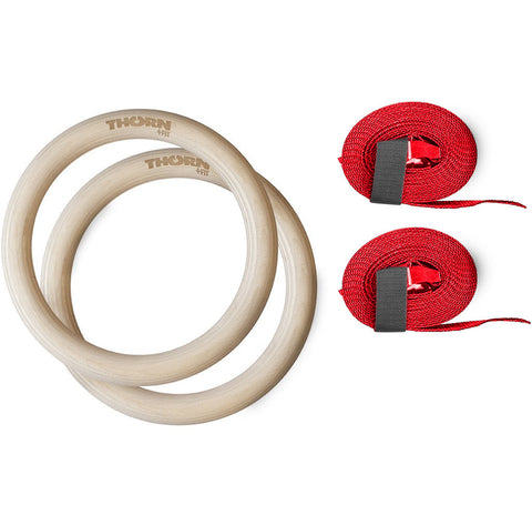 Wooden gymnastic rings with straps - 32mm diameter