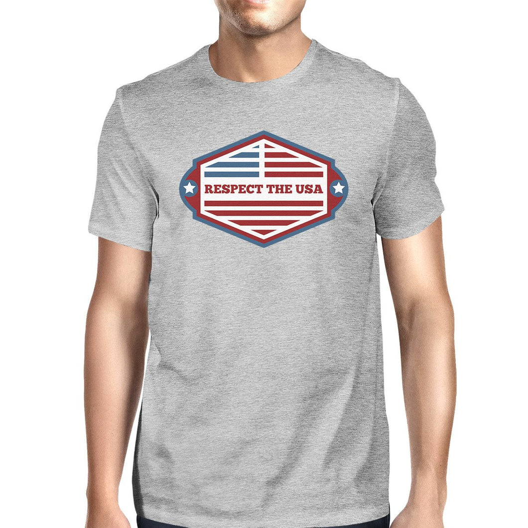 Respect the USA American Flag Shirt Mens Gray Short Sleeve Tshirt