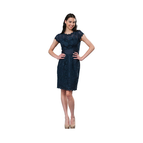 Short sleeve lace social occasion dress. Great for day through night for just the right party.