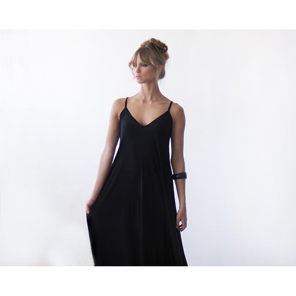 Black Maxi slip dress , Black maxi dress, Spaghetti straps dress , Maxi casual dress