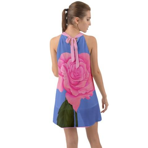 Pink Rose Dress Chiffon Back Beauty Halter Dress