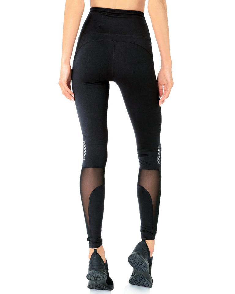 Energique Athletic Leggings With Reflective Strips and Mesh Panels by Savoy Active